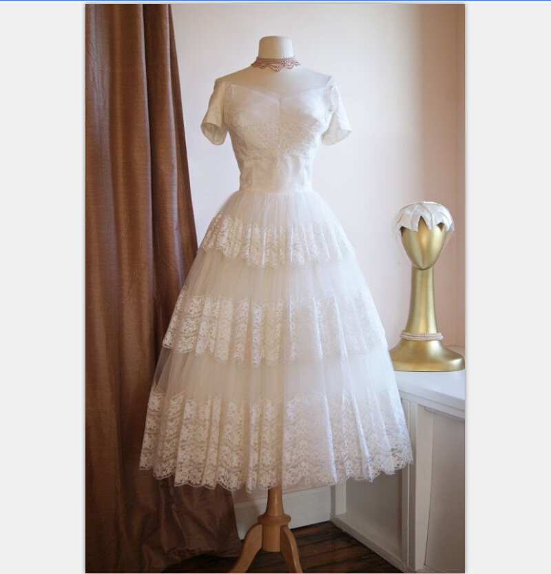 Vintage 1950s Tea Length Short Wedding Dress With Sleeves