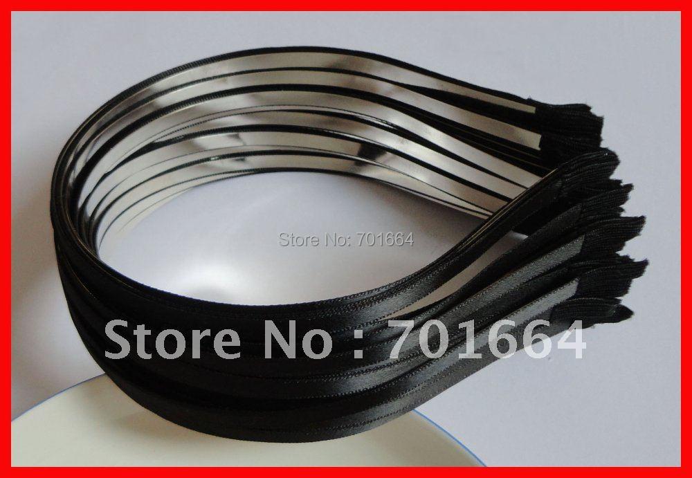 10PCS 5mm Black Satin Ribbon single Covered Plain Metal Hair Headbands Free shipping,BARGAIN for BULK(China (Mainland))