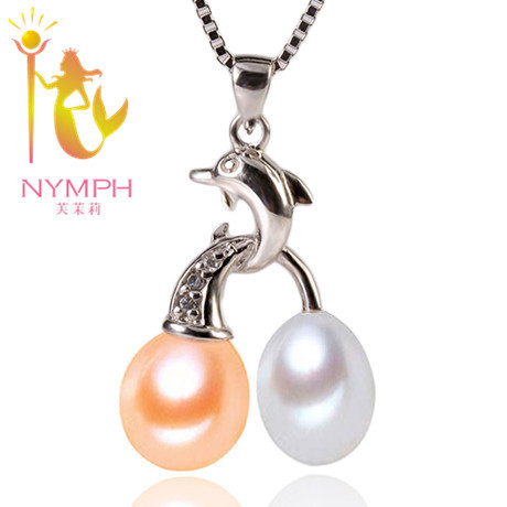 NYMPH  jewelry Exclusive styles 9-10 mm natural freshwater pearl necklace pendant 100%  S 925 sterling silver pendant[Dolphin]<br><br>Aliexpress