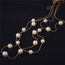 Classic channel cc long pearl necklace multilayer gold chain pearl strand fashion women sweater jewelry free