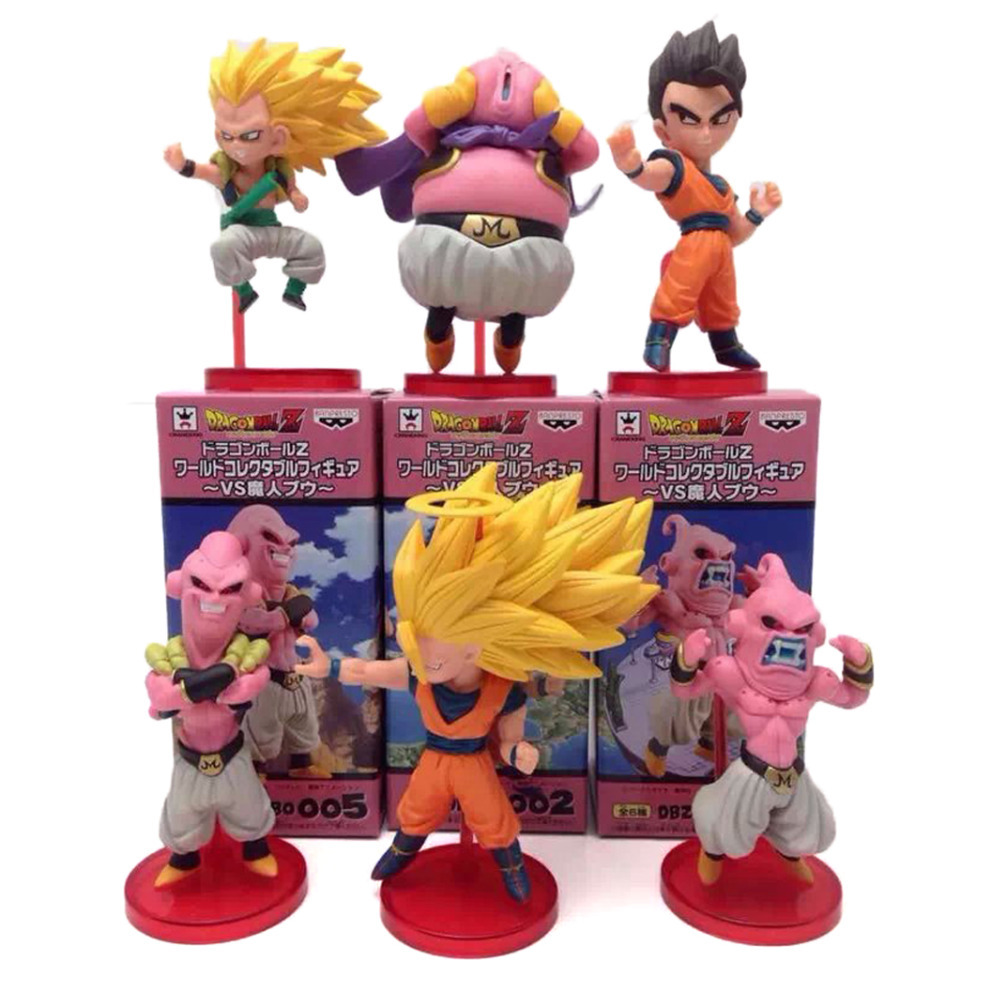 6Pcs/Lot 8CM Anime Dragon Ball Z PVC Action Figure Set Model Funko PoP Super Saiyan Goku Son Buu Gotenk Collection Kids Toy Gift(China (Mainland))