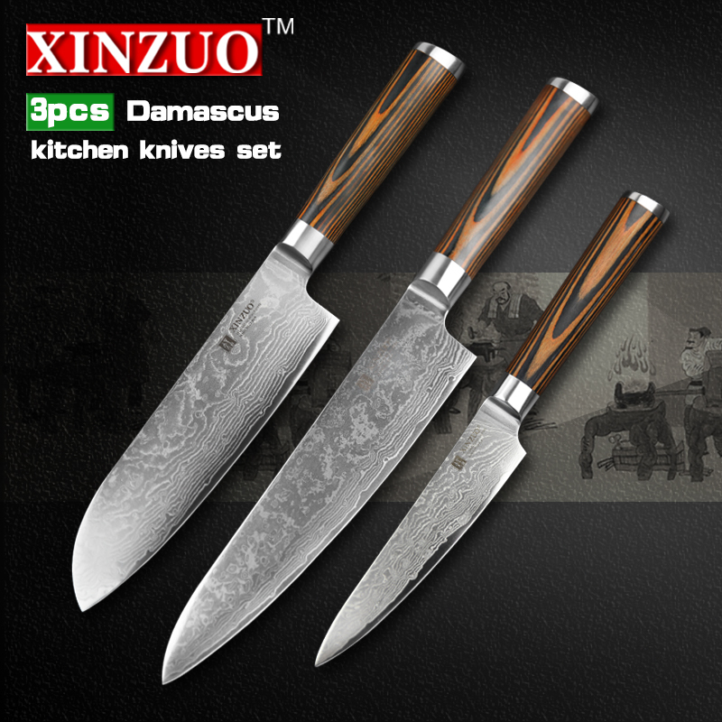 Buy 3 pcs kitchen knives set 73 layer for Handle kitchen set