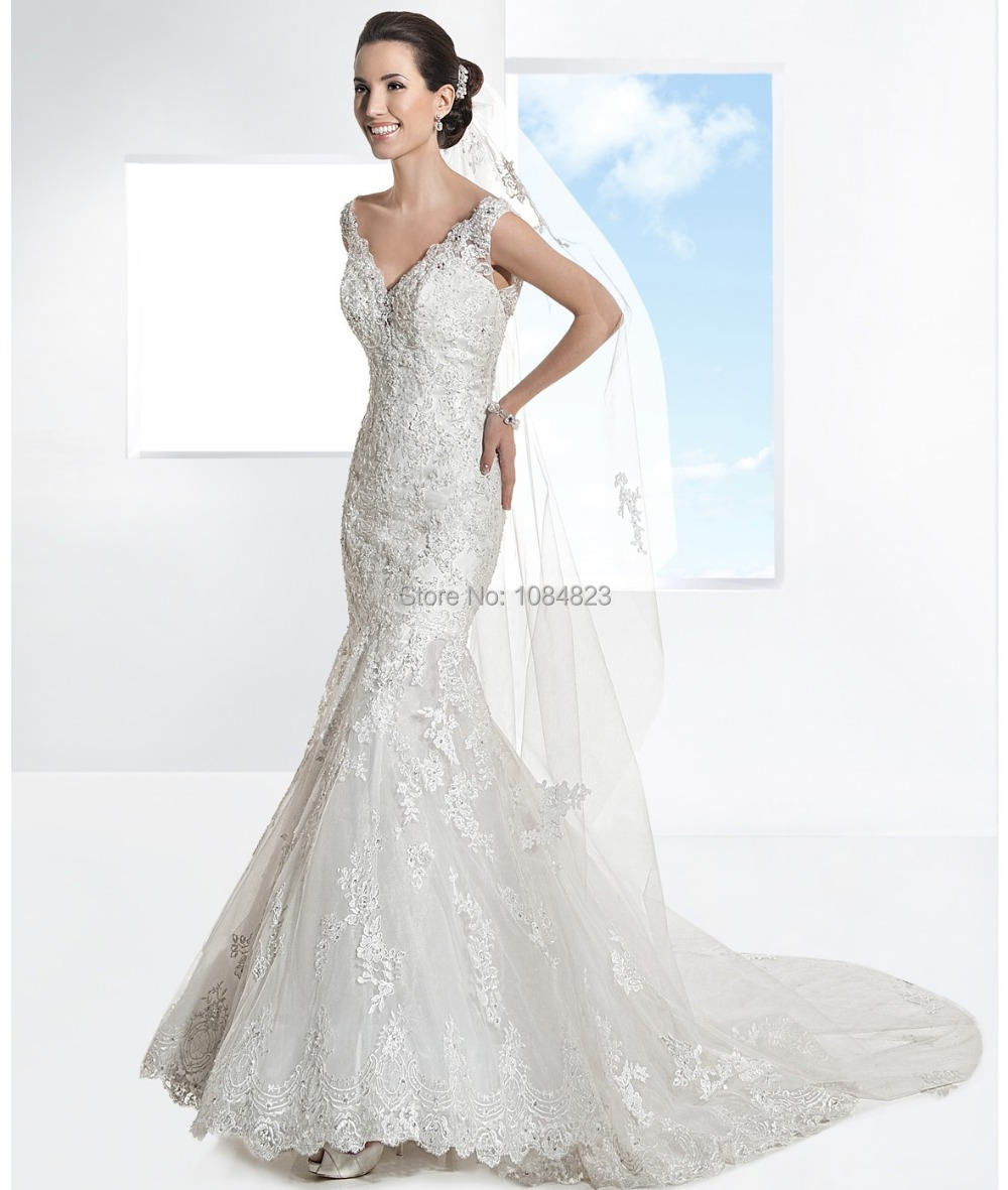 Popular fit n flare wedding dress aliexpress for Fit n flare lace wedding dress