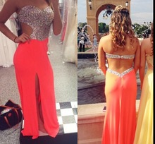 Buy 206 Split Side Long Prom Dresses Sweetheart Open Back Sweep Train Sexy Formal Dress Party Evening Gown for $151.05 in AliExpress store