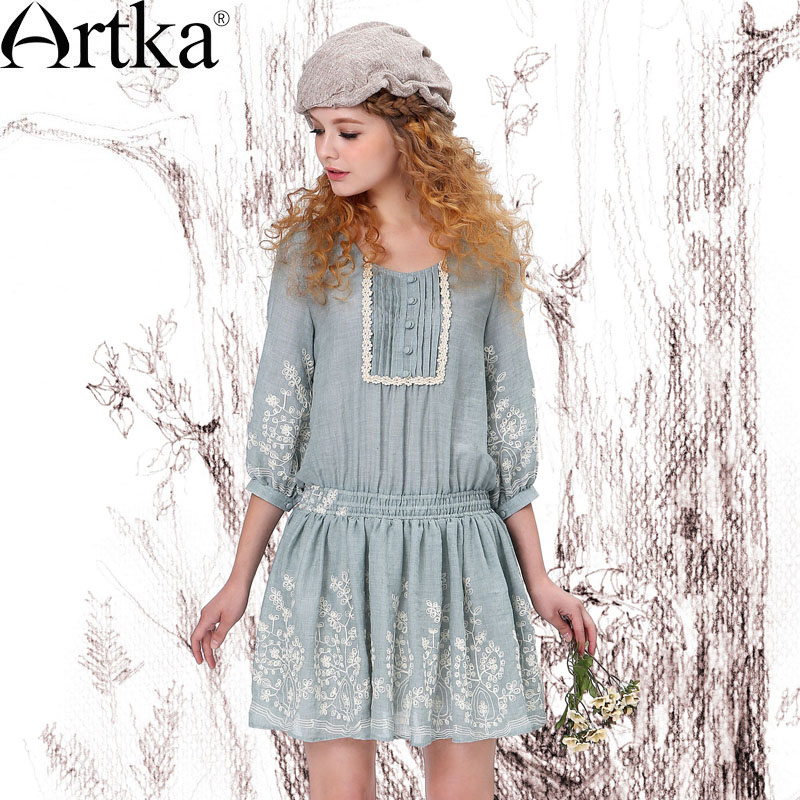 Artka Womens 3/4 Sleeve Embroidery Elastic Cinched Waist Pintucked Dress LA10549CОдежда и ак�е��уары<br><br><br>Aliexpress