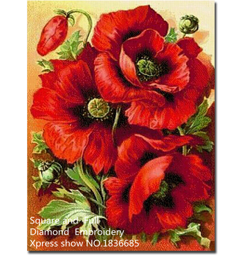 Decorative red flower,fantasy Diamond Embroidery,5d Diamond painting cross stitch,Square diamond pictuer Diamond mosaic stickers(China (Mainland))