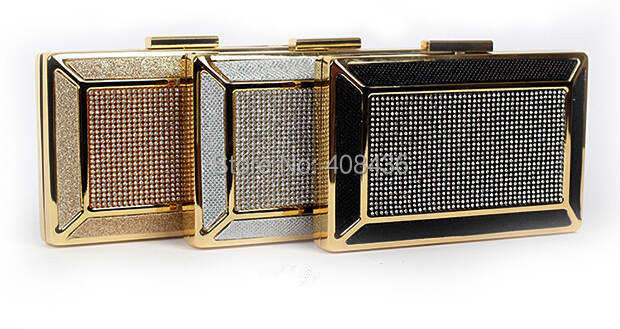 New Arrival 2015 Special Tin Square Dinner Clutch Rhinestone Evening Bags Small Womens Bag Clutches Bag Gold/Silver/Black 0184A(China (Mainland))