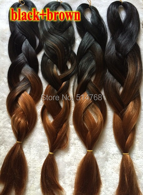 Free shipping 3pcs/lot Back +Brown Ombre Jumbo Braiding Synthetic Hair Extensions(China (Mainland))