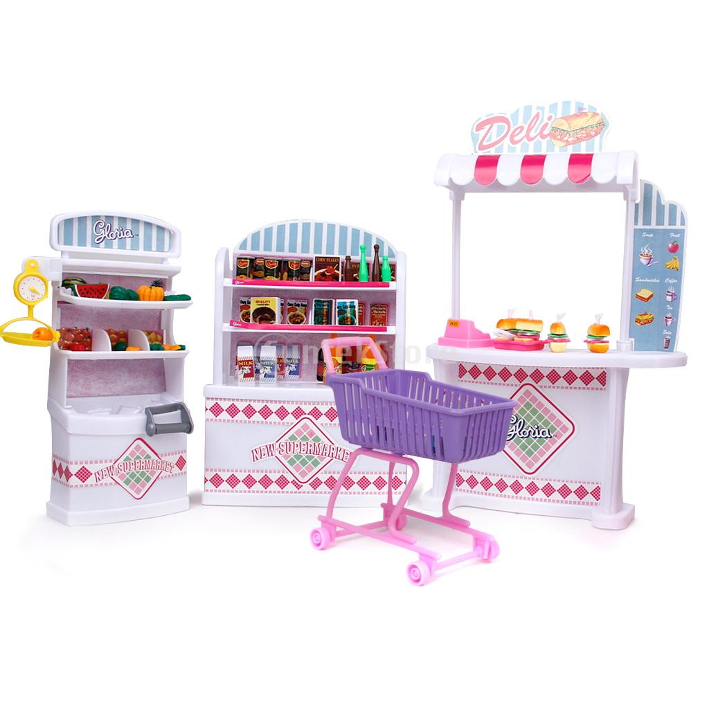 New 2015 Plastic Gloria Dollhouse Furniture Supermarket Superstore Shop Play Set Free Shipping