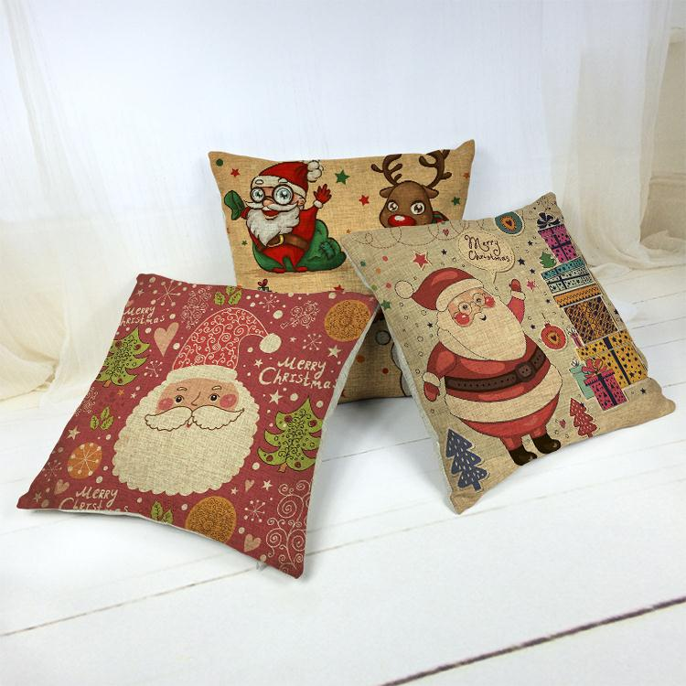 Hot Sale Thick and Thin Cotton Linen Decor Pillow New Home Fashion Christmas Gift 45cm Here Comes Santa Claus Office Nap Cushion