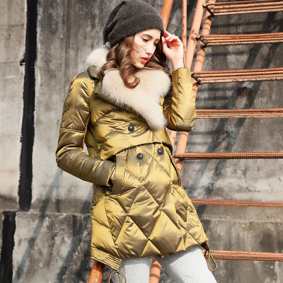 2015 New Luxury Winter Fur Collar Down Jacket Female Solid Long Warm Women Outerwear Clothing Coat WY078(China (Mainland))