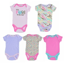 5pcs/set 2014 Newborn Gift Baby Bodysuit for Girl Fantasia Infantil Body Jumper Overall Summer Infant Clothes Bebe Clothing Wear(China (Mainland))