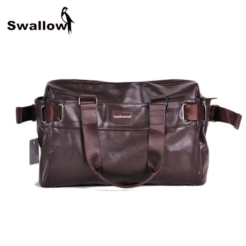 Large Capacity Men's Travel Shoulder Bag PU Leather VIntage Hight Quality Multifunctional Totes Handbag Zipper Spring Business(China (Mainland))