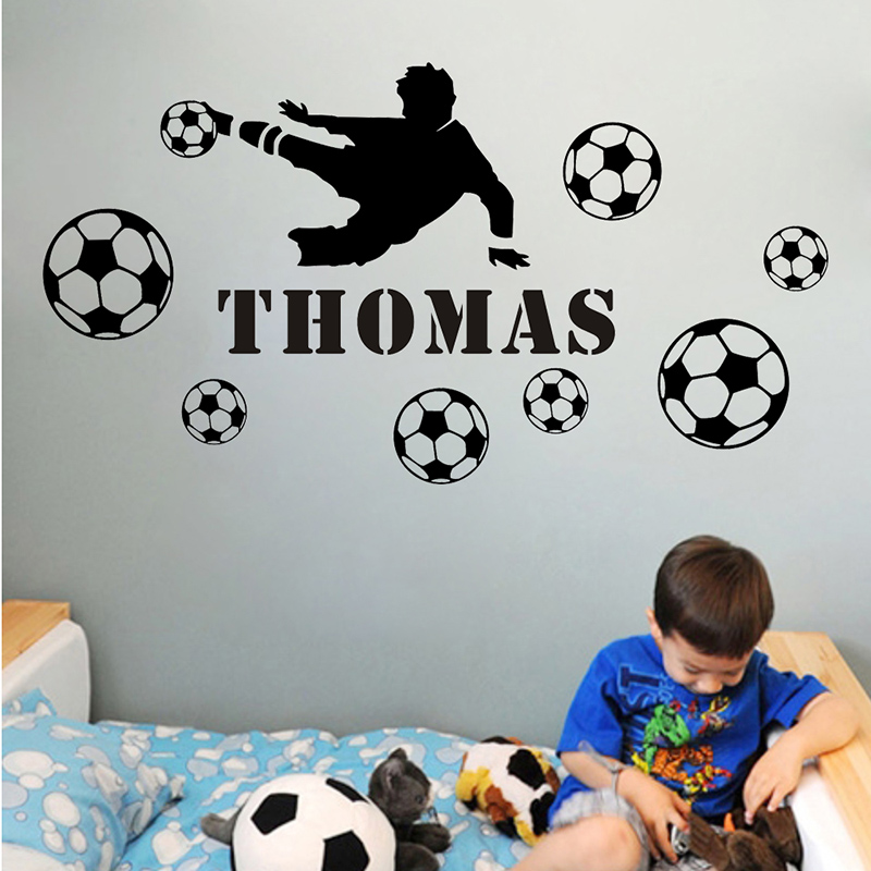 JJRUI Football Player Kids Personalised Any Name Bedroom Wall Art Mural Decal Sticker for Kids Rooms(China (Mainland))