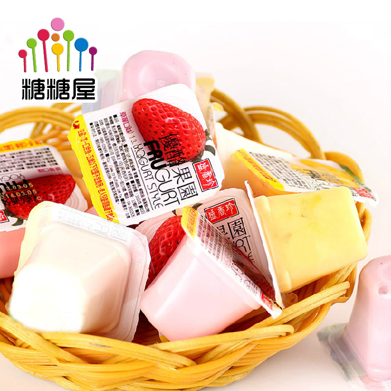 Sugar Sugar House Taiwan imported snacks Sheng Xiangzhen yogurt jelly pudding four kinds of taste orchard 500gX2 bag(China (Mainland))