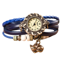 Excellent Quality 2015 New Fashion Hot Colorful Vintage women watches Weave Wrap Rivet Leather Bracelet wristwatches