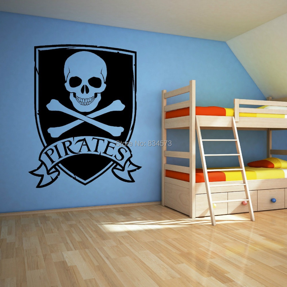 Pirate skull and crossbones logo wall art stickers wall for Diy photo wall mural