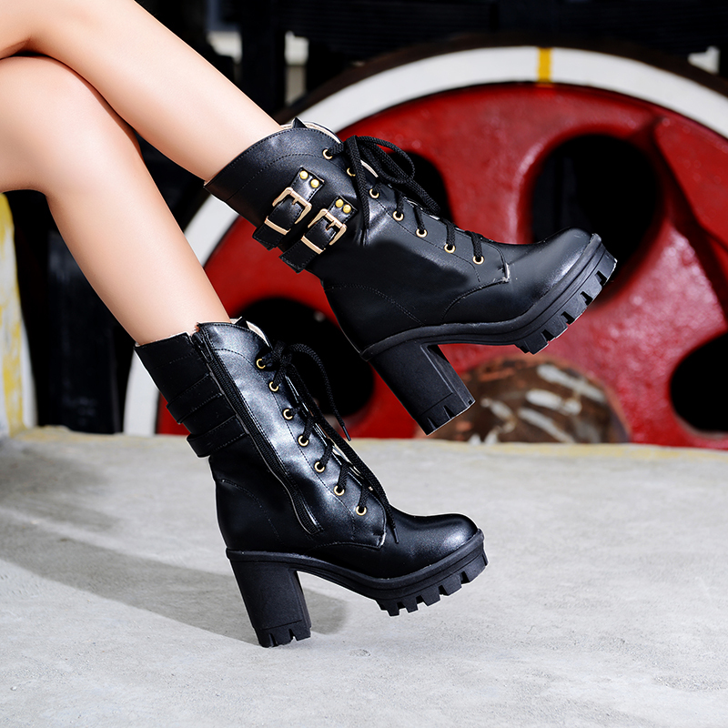Фотография Free shipping winter shoes single boots women platform shoes hasp thick ultra high heels boots women winter lace up martin boots