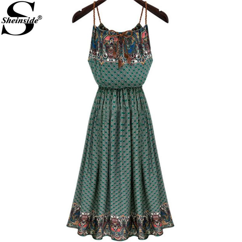 Sheinside 2015 Summer Beach Ladies Green Spaghetti Strap Sleeveless Vintage Floor-Length Bohemian Maxi Pleated Long Dress(China (Mainland))