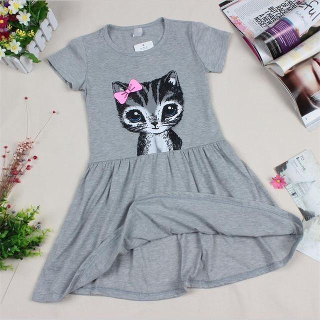 Горячая распродажа новый 2016 летней девушки кошка печать серый девочка платье детей одежда детей одеть 0-7years