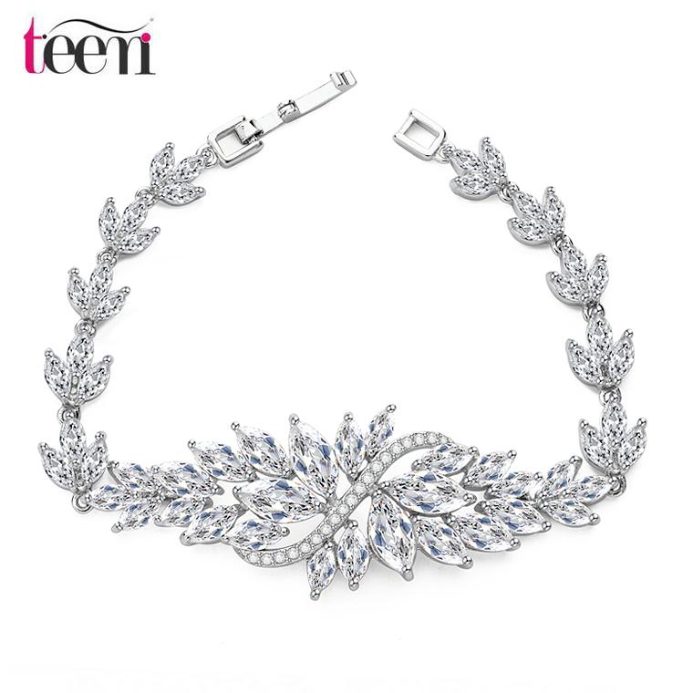 JINSE Wholesale fashion pure clear cubic zirconia silver bracelet<br><br>Aliexpress