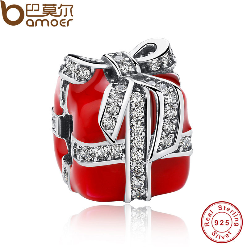 Authentic 925 Sterling Silver Sparkling Bow Surprise Gift Box Red Enamel Clear CZ Charm Fit Bracelet Berloque PAS236(China (Mainland))