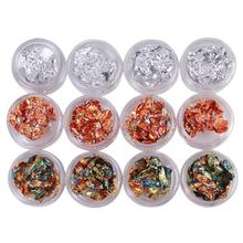 Beauty Nail Decals Tinfoil 3D Nails Art Tip Mixed Copper Foil Paillette Decorations Glitters DIY Stickers Tools women necessary