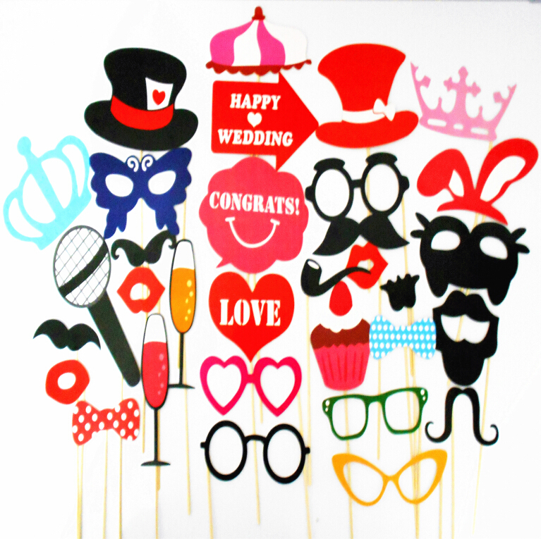 34PCS colorful wedding party decoration wedding props photo booth Lip Glasses Moustach Party Favors Holiday Event&Party Supplies(China (Mainland))