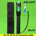 KELUSHI 20mW Aluminium Fiber Optic Visual Fault Locator Red Laser Source Cable Tester Meter with 2