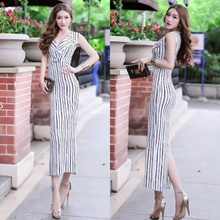 Free Shipping,2016 New Fashion Europe and America Style Dress for Women,Bodycon Sexy Tall Waist Deep V-neck long Dresses