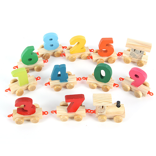 Baby toys Children Pre-school Educational Toys 0-9 Number Wooden Train Set Railway New(China (Mainland))