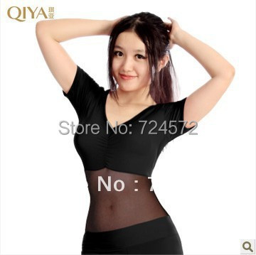 Belly dance costume gauze crystal cotton short sleeves belly dance jacket for women belly dance exercise top 9kinds of colors(China (Mainland))