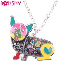 Buy Bonsny Statement Metal Alloy Enamel Corgi Dog Choker Necklace Chain Collar Pendant 2016 Fashion New Enamel Jewelry Women for $5.19 in AliExpress store