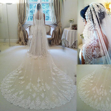 2016 Velo De Novia Three Meters Long Cathedral Wedding Veils Lace White Ivory One layers Tulle and Lace Bridal Veils Purfle Comb(China (Mainland))