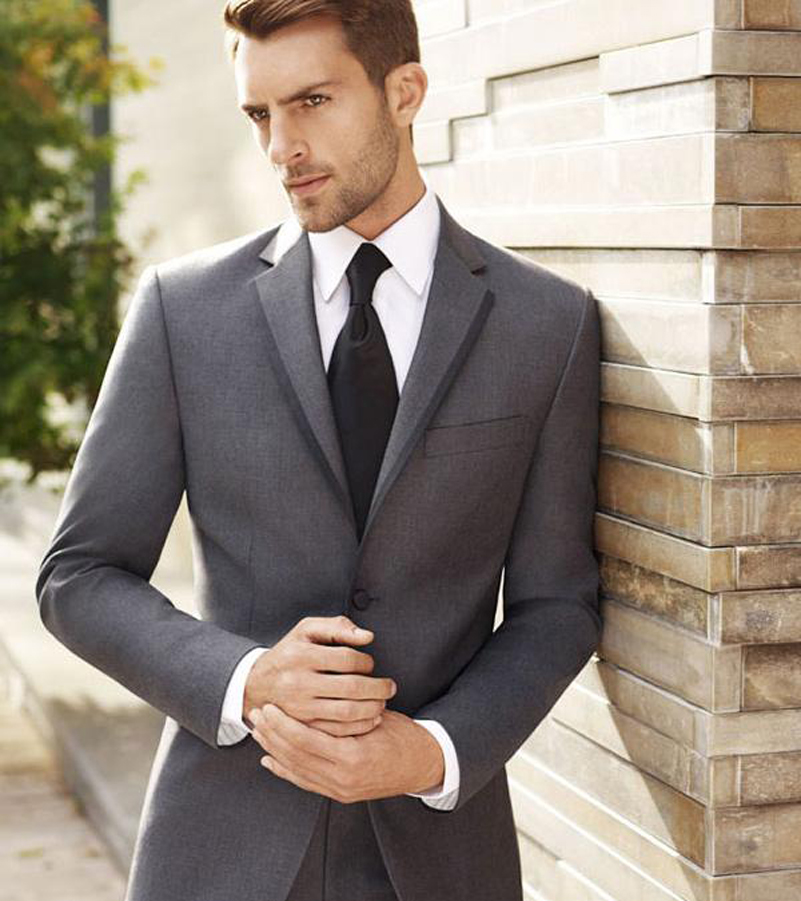Groom Wedding Suit Western Style Men Tuxedos Groomsman Business Suits Boss Wears Grey Dinner Jacket Notched Lapel(Jacket+Pants)(China (Mainland))