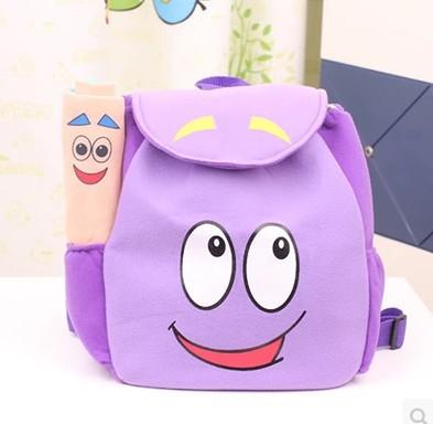 2015 New Brand Children School Bag Cartoon Adventurous Dora Backpacks Plush with Map Girls Kindergarten The Explorer Rescue Bag(China (Mainland))