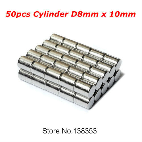 Wholesale 50pcs Super Strong Neodymium Cylinder Magnets Dia 8mm x 10mm N35 Small Round Rare Earth NdFeB Magnetic Stick(China (Mainland))