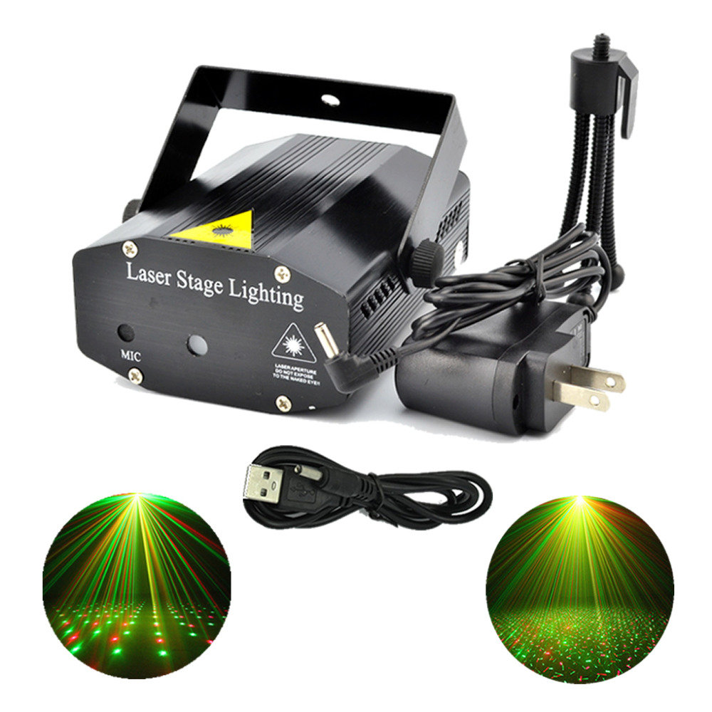 New Mini Red Green Laser LED Lights Portable USB To 3.5mm Plug Adapter Line DJ Home Party Bars Xmas Show Stage Lighting - O101-B(China (Mainland))