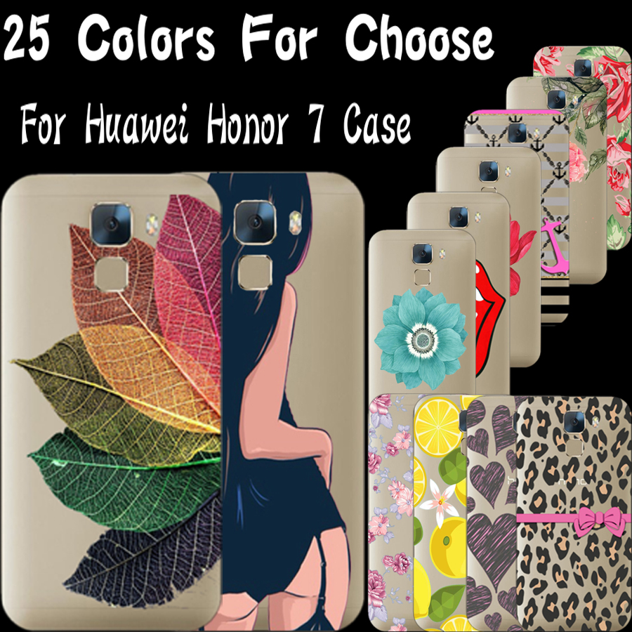 Honor 7 Cases For Huawei Honor 7 Cover Half Clear Soft Ultra Thin TPU Phone Case Shell Top Fashion Popular Pattern KLO TT(China (Mainland))