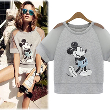 Dropshipping!2016 Summer Europe Women Mickey Bead piece embroidered Tops Slim blusas short sleeve T shirt(China (Mainland))