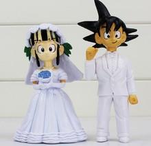 Free Shipping Japan Anime Dragon Ball Goku ChiChi Wedding PVC Figure Toys 8cm 2pcs/set