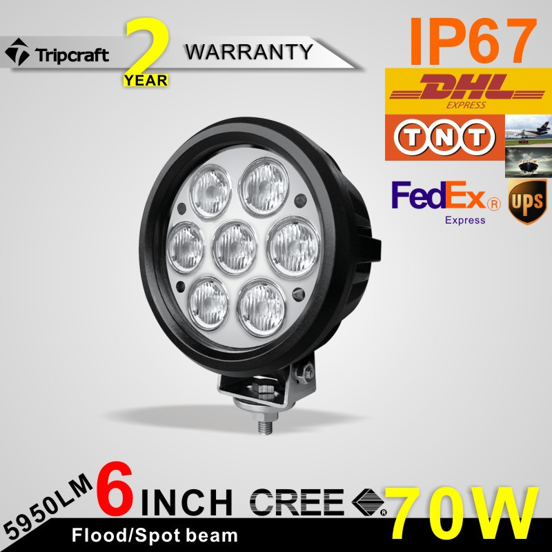 2PCS/LOT! 6inch 70W 5600LM CREE LED WORK LIGHT Truck Trailer Motorcycle SUV ATV Off-Road 4x4 Car Motor 12v 24v Flood Beam(China (Mainland))