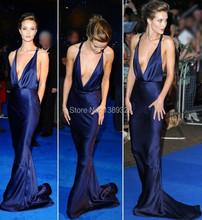 2014 Hot Sale  V Neck Sleeveless Floor-length Elastic Satin Backless Mermaid  Dark Blue Celebrity Evening Dresses(China (Mainland))