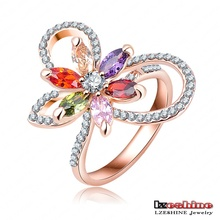 Luxurious Real 18K Rose Gold Plated Flower Crystal  Ring Genuine SWA Stellux Engagement Ring Women Jewelry Ri-HQ0393-A