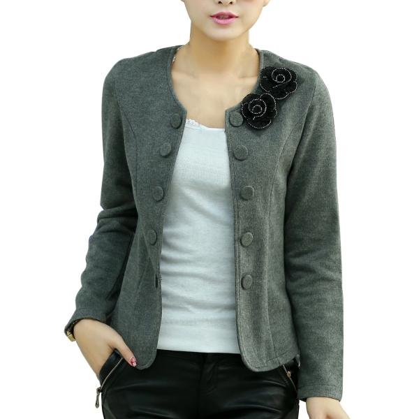 Plus Size M-4XL Lady Fashion Slim Jackets Woman Thin Coats 2015 New Flower & Bow Decoration Women Cardigans Autumn Clothing(China (Mainland))