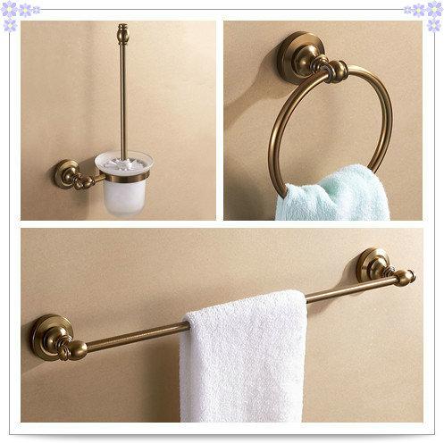 Aluminum antique brush holder towel ring single towel rack for Bathroom sink accessories sets