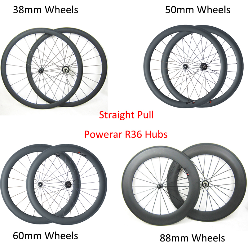 Straight Pull R36 Hubs 700C Carbon Road Bike Wheels 24mm 38mm 50mm 60mm 88mm depth Clincher Tubular Carbon Bicycle Wheelset(China (Mainland))