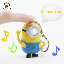 1Pcs 3D Minions Toys Cartoon Movie Despicable Me 2 Mini Minion Keychains Doll PVC Action Figure Toy Kids Toys(China (Mainland))