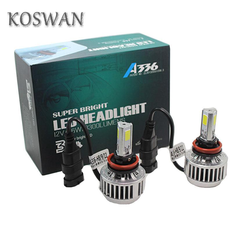 A336 Series All In One H8 Car LED Headlight Bulb H8 33W 3300LM LED Headlight Bulb 6000K  White COB LED Headlamp Bulb Lamp Light <br><br>Aliexpress