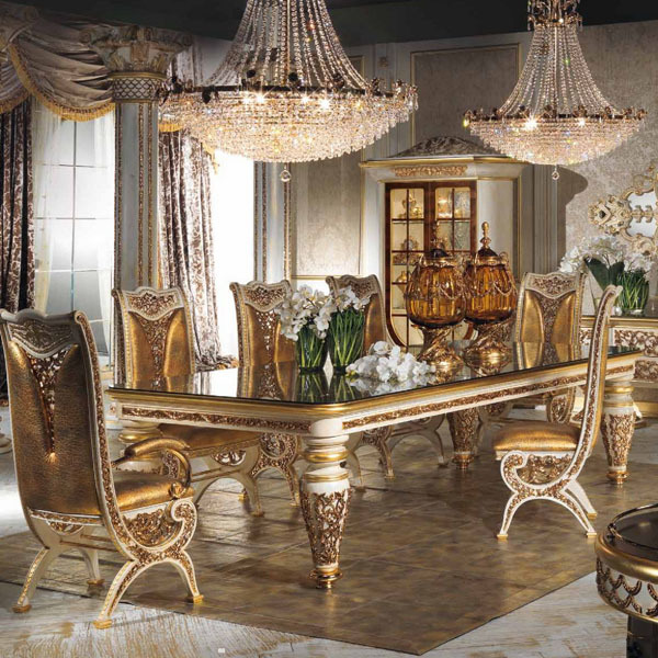 Carved Decorative Dining Room Set Luxury Dining Room